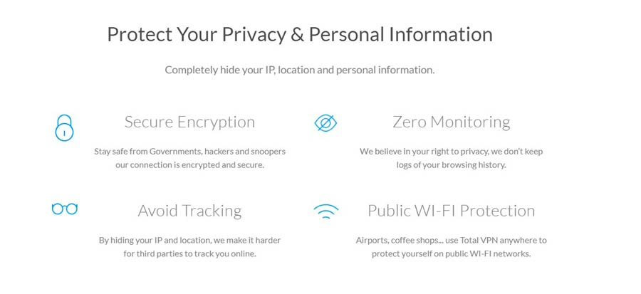 The provider of Total VPN claims that having the VPN service on your device will protect your personal information