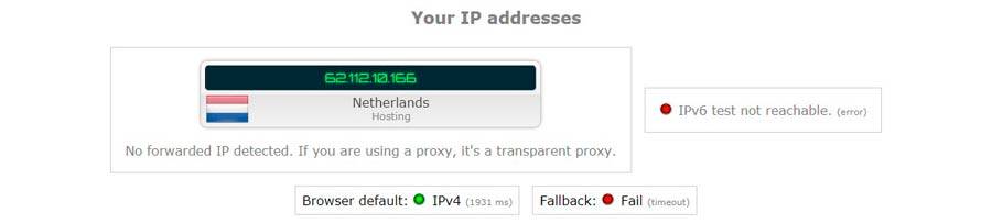 OK, now let's test the VPN for IP Leak.  I've connected to the same server in the Netherlands. Let's check IP.