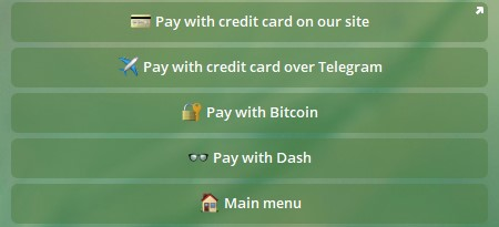 As you can see below, tgVPN allows a wide range of payment methods
